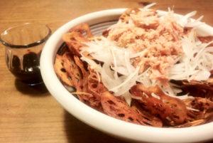 レンコンとゴボウの揚げサラダ