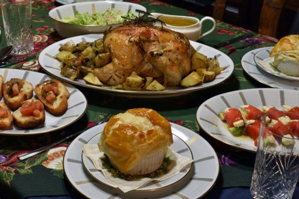 クリスマスディナー クリスマスごはん ローストチキン きのこのパイスープ
